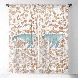 Blue Whale Swimming in Copper Sheer Curtain