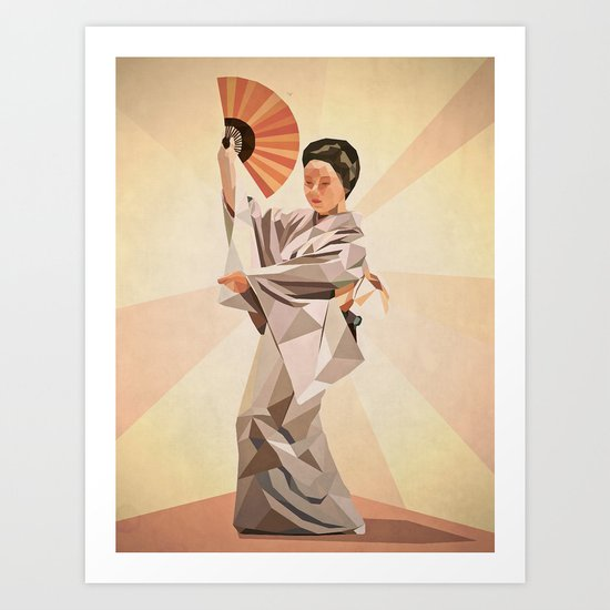 polygonal japanese dancer Art Print