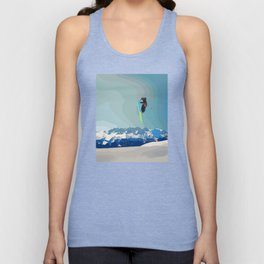 Man on skis, sky jumping, with mountains and blue sky on the backgound Unisex Tank Top