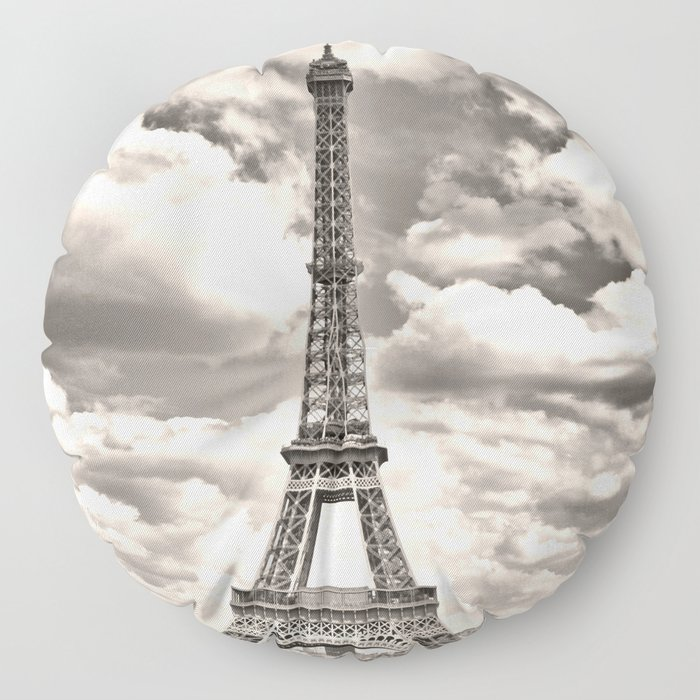 Eiffel Tower in sepia in Paris, France. Landmark in Europe Floor Pillow
