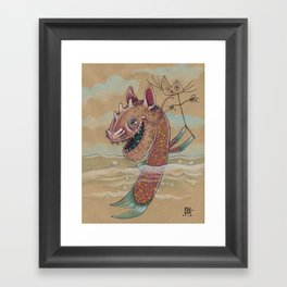 SWIMMING WITH PUPPETS Framed Art Print