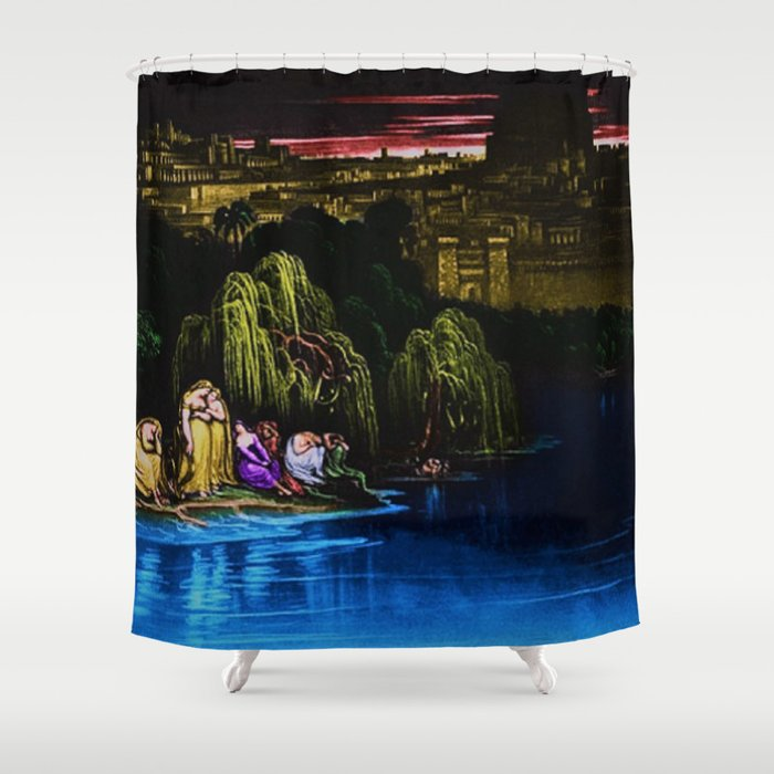 The Waters of Babylon Landscape Painting by Jeanpaul Ferro Shower Curtain