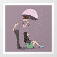 Boy meets girl in rainny day Art Print