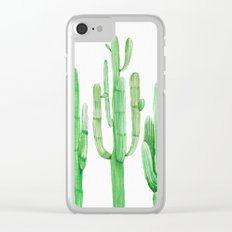 Three Amigos Cacti Green Clear iPhone Case