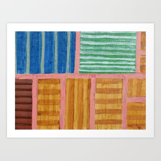 Beautiful Stripes Pattern within a Pink Grid Art Print