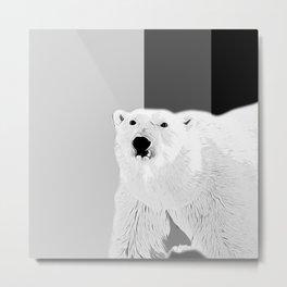 polar ice bear vector art black white Metal Print