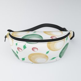 Christmas Balls and Holly Print Fanny Pack