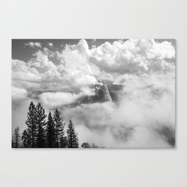 Half Dome in the Clouds, Yosemite National Park, Yosemite Photography, Black and White Photography Canvas Print