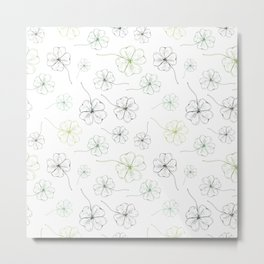 Clover. Green four leaf clover leaves on a white background. Natural pattern Metal Print