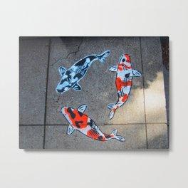 Koi Fish on Sidewalk Metal Print