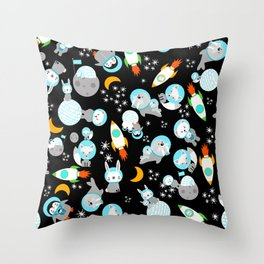 Arctic Astronauts Animals In Space Gray Black Throw Pillow