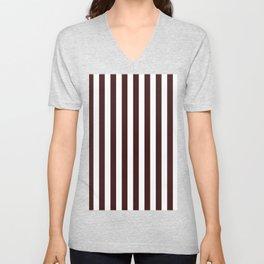 Narrow Vertical Stripes - White and Dark Sienna Brown Unisex V-Neck