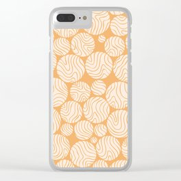 Cotton Ball Flower Pattern Jolly Orange Color Design Clear iPhone Case