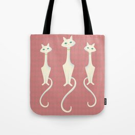 Midcentury Modern White Kitty Cat With Blue Eyes Tote Bag