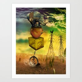 Freewheeling field maneuvers Art Print