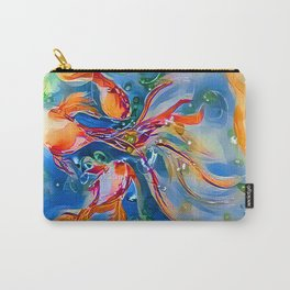Rainbow Bubbly GoldFish watercolor by CheyAnne Sexton Carry-All Pouch