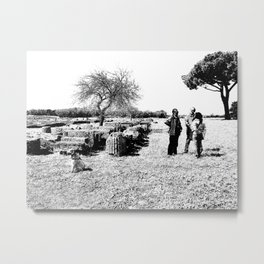 Paestum view archaeological area with dog Metal Print