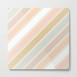 Retro Diagonal Stripes in Pastel Champagne Metal Print