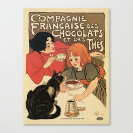 Vintage French tea and hot cocoa advertising Canvas Print