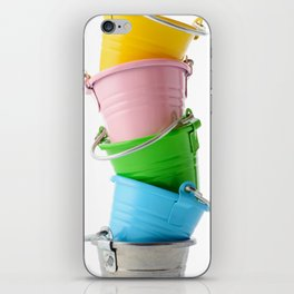 Colorful buckets, stacked vertically iPhone Skin
