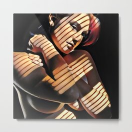 2686s-JG Beautiful Jessica Striped by Sunlight Through Window Blinds Metal Print