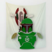 starwars Wall Tapestries featuring StarWars  Boba Fett  by Joshua A. Biron