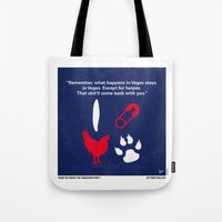 mercedes Tote Bags featuring No145 My Hangover PART 1 minimal movie poster by Chungkong