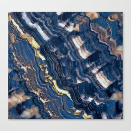 Blue marble with Golden streaks Canvas Print