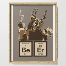Funny chemistry bear discovered beer Serving Tray