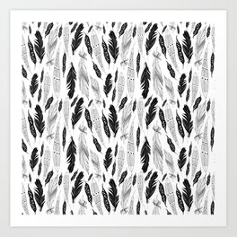 raphic pattern feathers on a white background Art Print