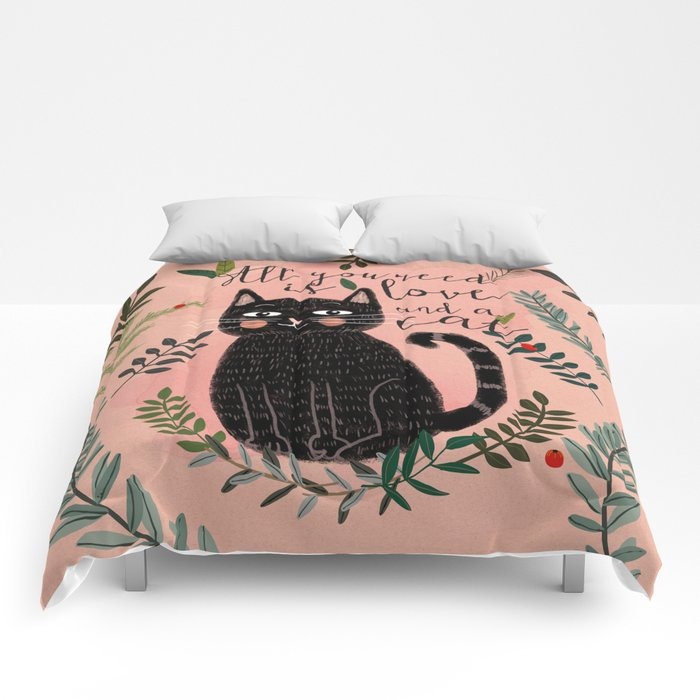 ALL YOU NEED IS LOVE AND A CAT Comforters