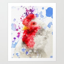 Watercolor Chicken, Chicken Painting, Chicken Decor, Chicken Art, Chicken Design, Hen Art Print