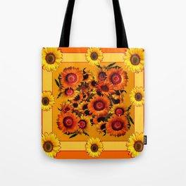 ORANGE YELLOW SUNFLOWERS ART Tote Bag