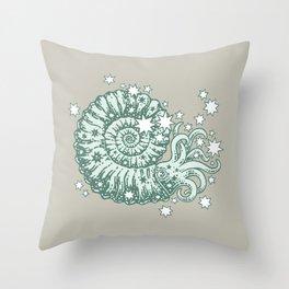 The Starry Ammonite || Aquamarine Palette || Cosmic Prehistoric Life Throw Pillow