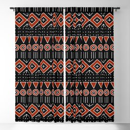 Mudcloth Style 2 in Black and Red Blackout Curtain