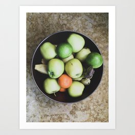 Top view of a bowl of fruit Art Print