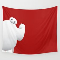 baymax Wall Tapestries featuring Baymax by Raccoon Illustrations