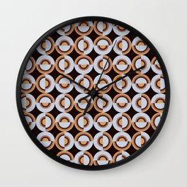 Retro Circles Brown Silver Vintage 70's Style Pattern Design Wall Clock