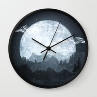 moonrise Wall Clocks featuring Moonrise by Tracie Andrews