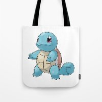 squirtle Tote Bags featuring PIXELATED SQUIRTLE by DrakenStuff+