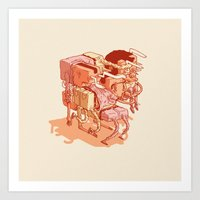 party Art Prints featuring party by Ben Bauchau