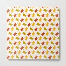 Autumn pattern with leaves on white background Metal Print