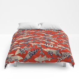 shark party red Comforters