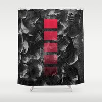 decal Shower Curtains featuring black ocean by LEEMO