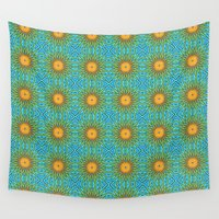 yellow pattern Wall Tapestries featuring Yellow Salsify Flower Pattern by Peter Gross