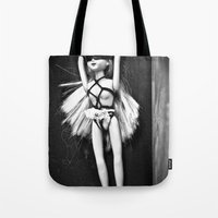 bondage Tote Bags featuring Bondage Barbie by MistyAnn @ What the F-stop Prints