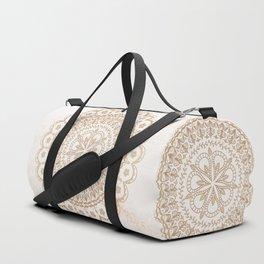 Cream gold mandala and marble Duffle Bag