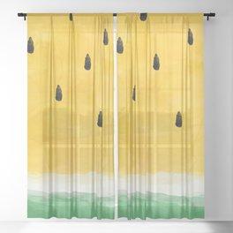 Yellow Watermelon Abstract Sheer Curtain