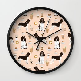 English Springer Spaniel coffee lover dog breed pet portraits custom dog gifts Wall Clock