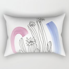 Contour Line Cactus 3 Rectangular Pillow